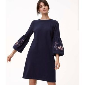 Loft Navy Embroidered Bell Sleeve Shift Dress NWT